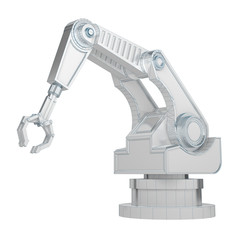 robotic arm isolated on white 3d rendering