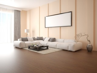 Mock up poster modern living room with a large corner sofa on a light beige background.