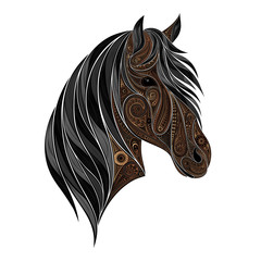 Vector brown horse. Head silhouette animal patterns