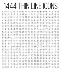 Exclusive 1444 thin line icons set.