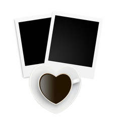 Two photo papers card and coffee cup isolated on white