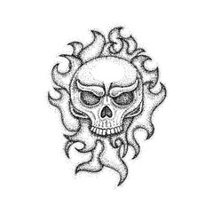 Human Skull with Fire Dotwork