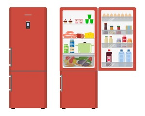 Red fridge with open doors, a full of food. Vector flat illustration