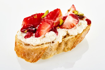 Unusual sweet canape with fresh strawberry