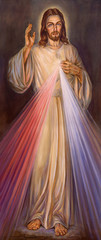 BERLIN, GERMANY, FEBRUARY - 15, 2017: The painting of traditional Divine Mercy of Jesus in church Rosenkranz Basilica by unknown artist of 20. cent..