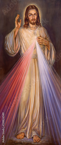 Wall mural BERLIN, GERMANY, FEBRUARY - 15, 2017: The painting of traditional Divine Mercy of Jesus in church Rosenkranz Basilica by unknown artist of 20. cent..
