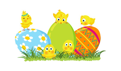 Easter illustration with eggs and chicks