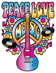 Peace-Love-Music in pink and blue.