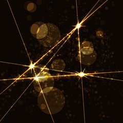 Abstract background with gold twinkling stars vintage. Vector illustration.