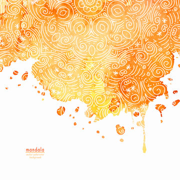 Vector watercolor background with mandala style lines.