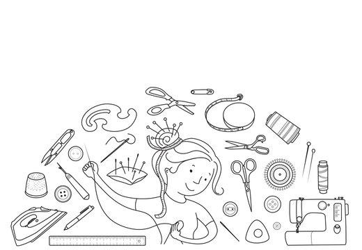 Seamstress girl and sewing tools vector concept