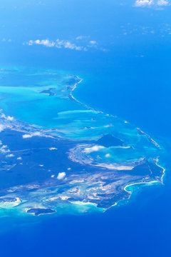 Aerial view of Bahama island at Atlantic ocean