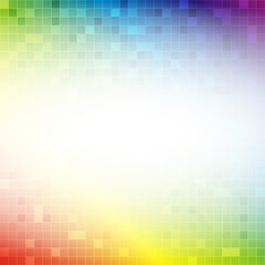 Colorful rainbow square grid mosaic background with white color in center with abstract concept vector illustration