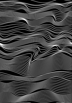 Abstract vector seamless moire pattern with waving curling lines. Monochrome graphic black and white ornament. Striped repeating texture.
