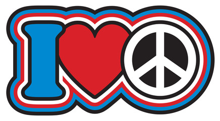 I Heart Peace retro-styled design in red, white and blue.