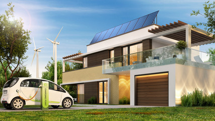 Ecological house and electric car