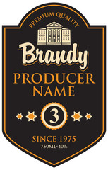 black label for brandy in frame with building in retro style