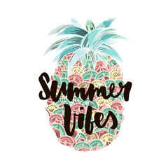 Summer vibes. Hand written lettering quote for poster, card, photo overlay. Brush texture. Isolated on white background. Vector illustration.