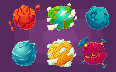 Set of vector cartoon illustrations fantasy alien planets