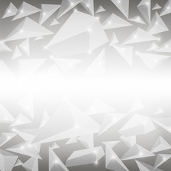 Grey Crystal Pattern. Explosion of Particles. Abstract Parts Background