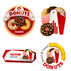 Set beautiful cartoon icons and badges of fast food