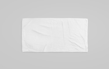 Black white soft beach towel mockup. Clear unfolded wiper mock up laying on the floor. Shaggy fur bath textured jack-towel top view. Domestic cloth kitchen overlay template ready for print..