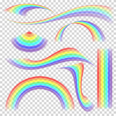 Rainbow Set Vector. Different Shape Collection. Realistic Rainbow Set Isolated On Transparent Background.
