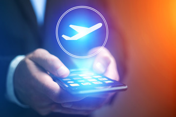 Concept of booking online airplane ticket - Travel concept