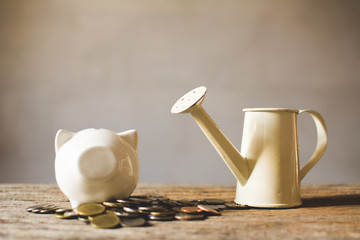 coin with jar piggy bank on old  background, a color of vintage tone concept time to save money