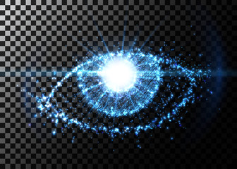 Abstract eye from light particles, with flare effect. Vector illustration.