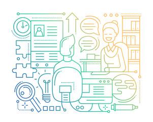 Job Interview - line design composition - color gradient