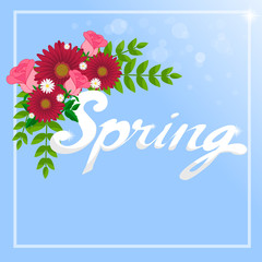 """Spring"" Word and flowers"