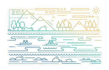 Water Tourism - line flat design illustration - color gradient