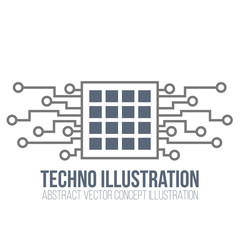 Circuit board vector on white background. Processor and chip, engineering and tech, motherboard and computer design, illustration