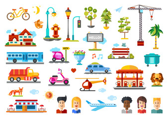 Urban objects vector illustrative icon set with infographic elements