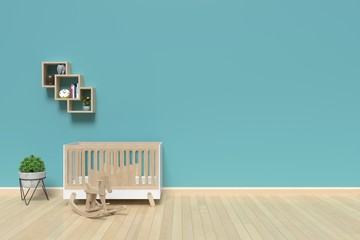 mock up wall in child room interior, 3d rendering