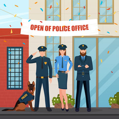 Festive Police People Composition
