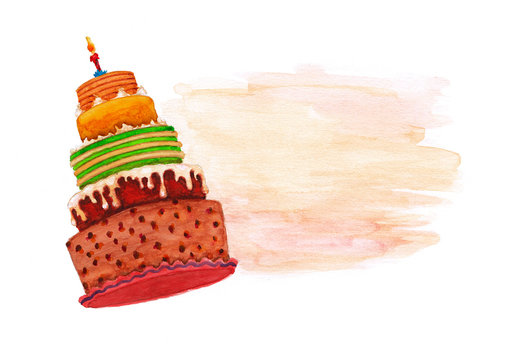 Watercolor background with birthday cake