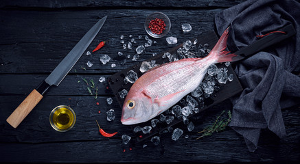 Fresh spanish bream fish (breca) on ice on a black wooden table top view