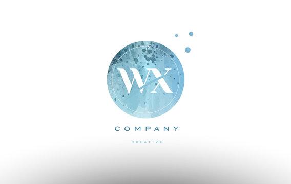 wx w x  watercolor grunge vintage alphabet letter logo
