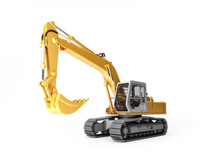 Yellow Excavator Isolated on white background