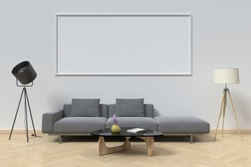 mock up poster frame and sofa in interior background,3d rendering