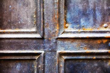 Closeup of metal vintage door
