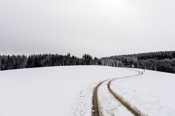 Winterlandschaft mit Strasse im Querformat
