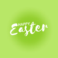 Vector Happy Easter inscription on green dotted background.