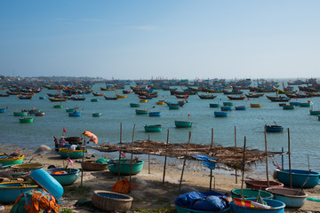 Fisherman village view point and pan boats in Mui-Ne city, Vietnam