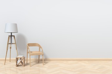 A reading corner with a chair and a lamp on the wooden floor behind White,3D rendering