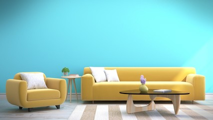 Living room with sofa yellow with blue wall,3D rendering