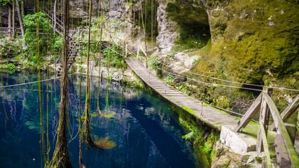 X'Canche Cenote cenote is close to Ek Balam near Valladolid, Yucatan peninsula, Mexico.