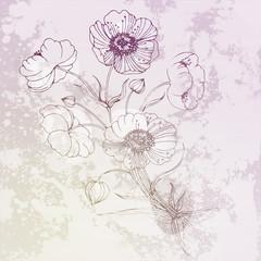 Pastel bloom flower. Floral vintage illustration in muted palette.
